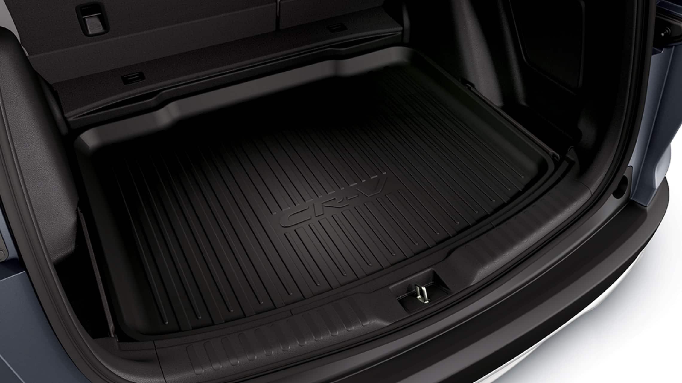 Interior de la Honda CR-V2019 con accesorio de bandeja de carga original de Honda.