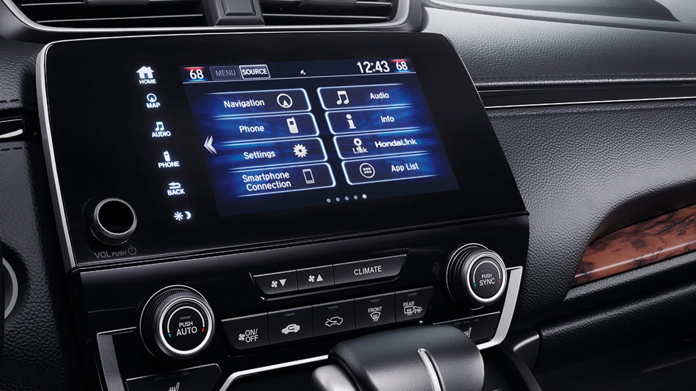 Sistema de audio en pantalla táctil de 7pulgadas en la Honda CR-V2019.