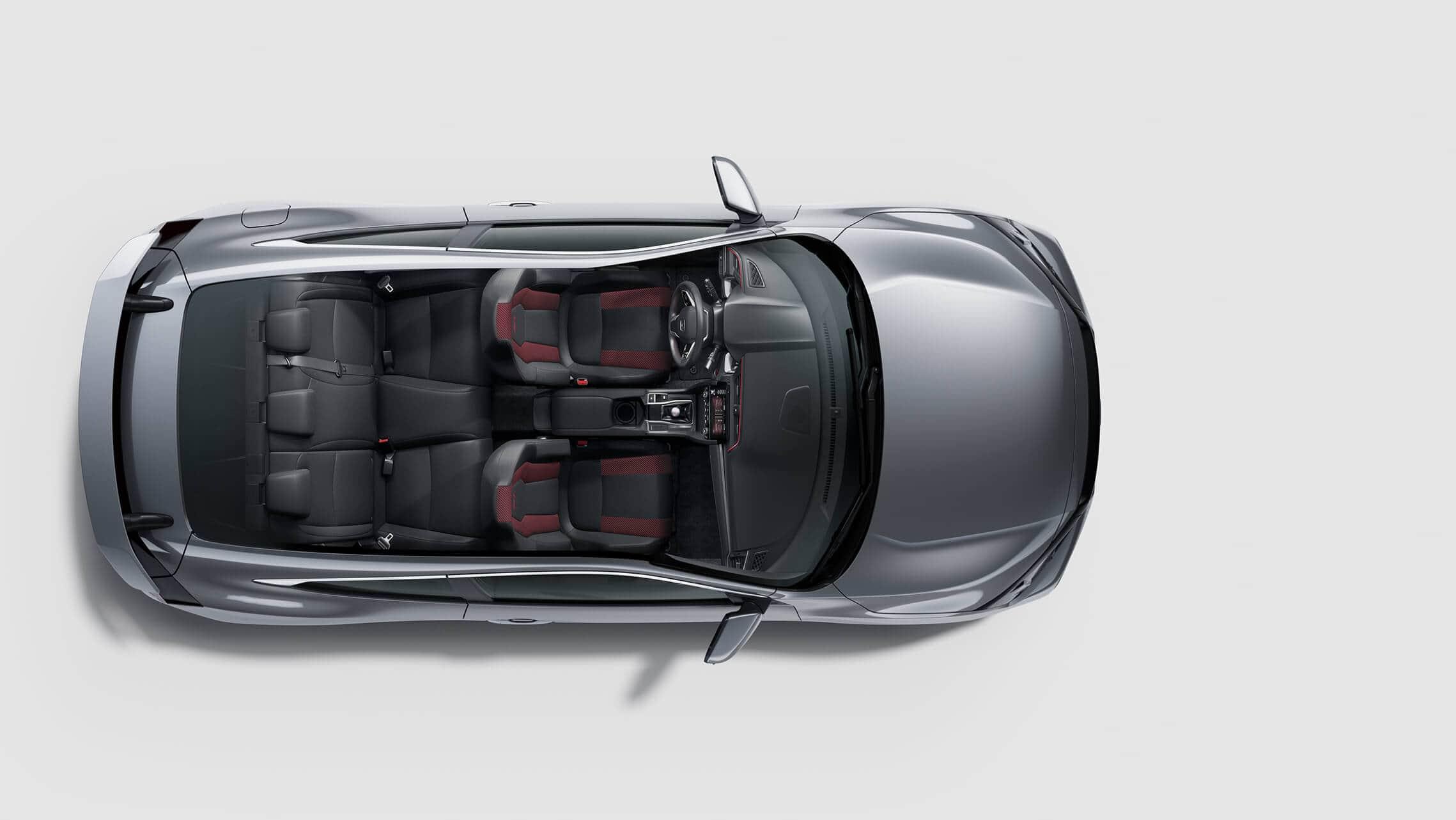 Vista aérea del Honda Civic Si Coupé2020 en Modern Steel Metallic.