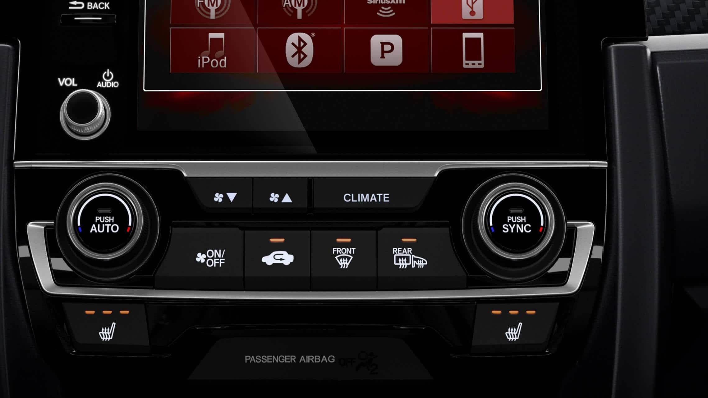 Detalle del control de los asientos delanteros calefaccionados en el Honda Civic Si Coupé2020.