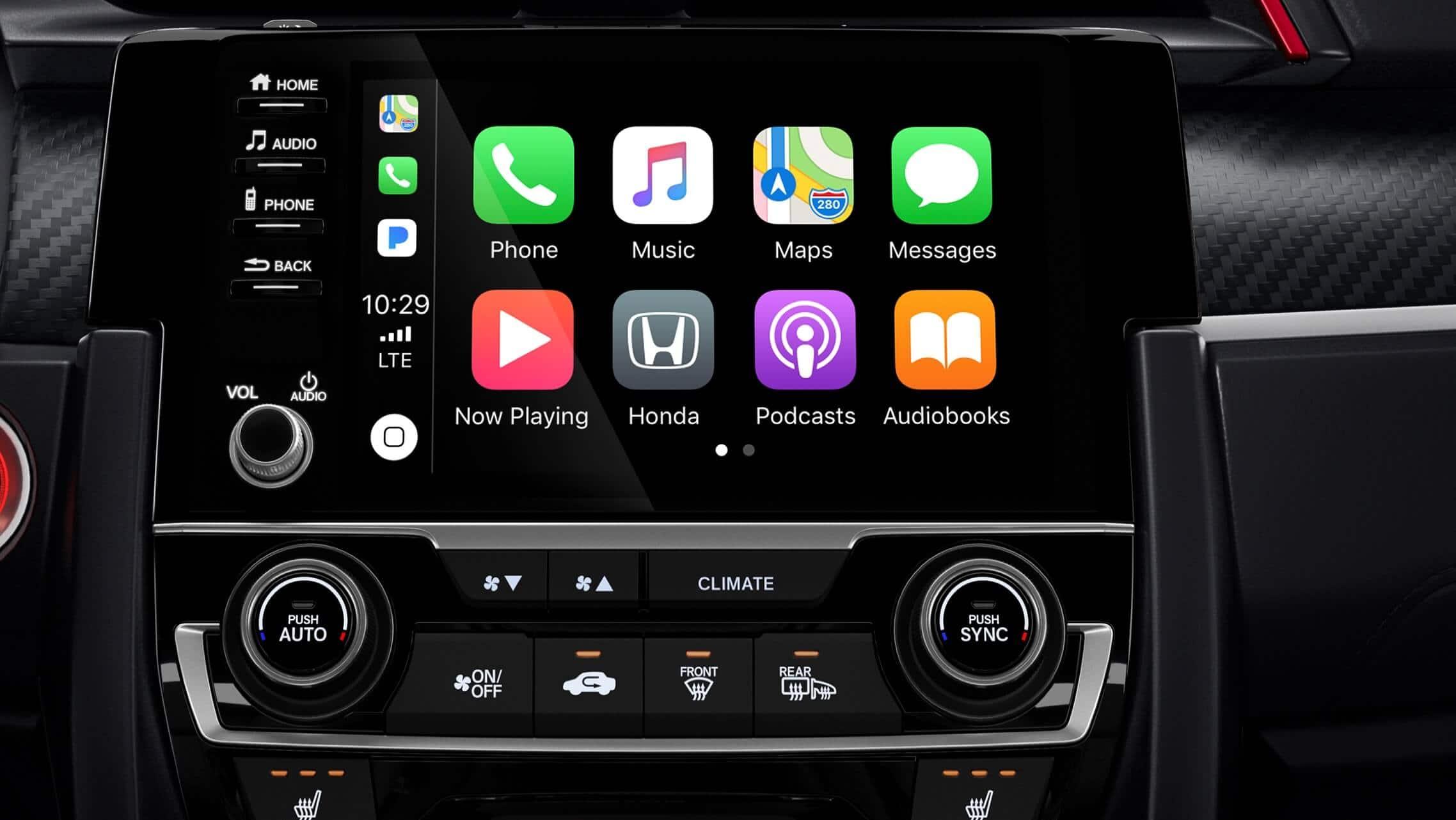 Detalle de Apple CarPlay® en el sistema de audio en pantalla táctil de 7pulgadas del Honda Civic Si Coupé2020.