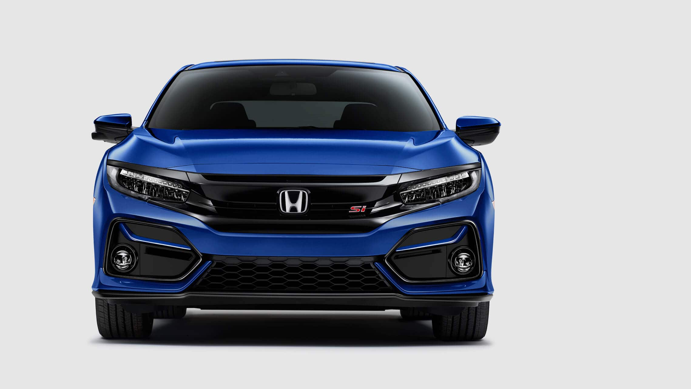 Front view of 2020 Honda Civic Si Sedan in Aegean Blue Metallic.