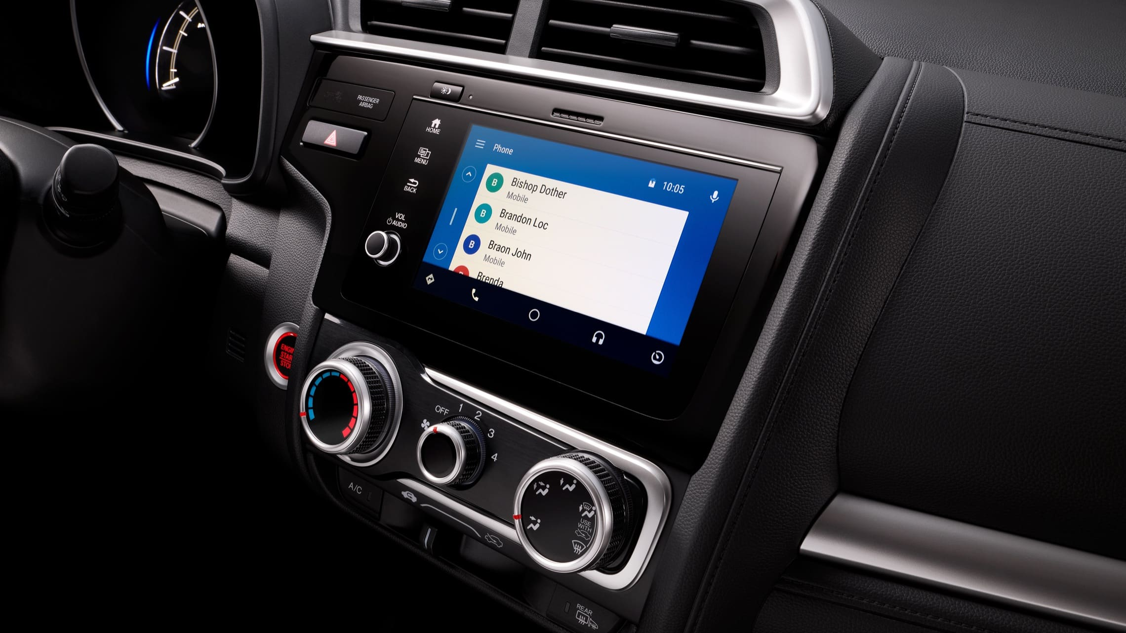 Detalle del sistema de audio en pantalla táctil con Android Auto™ en el Honda Fit2020.