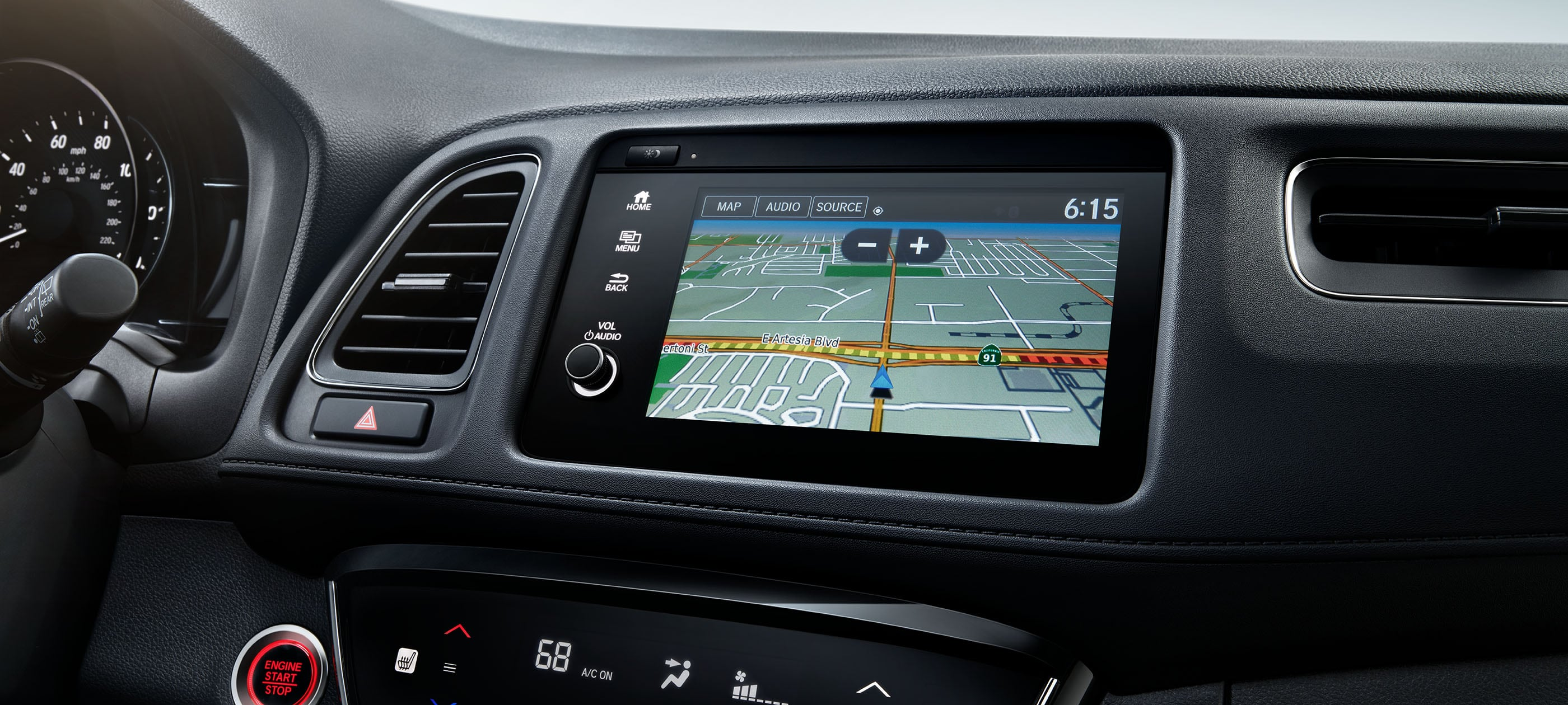 Honda Satellite-Linked Navigation System™ detail on Display Audio touch-screen in 2020 Honda HR-V Touring with Black Leather.