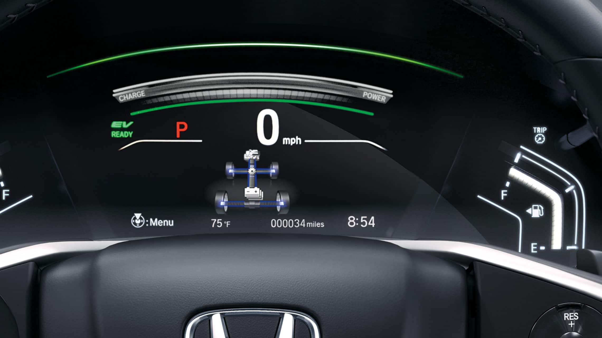 Vista detallada de la pantalla de la interfaz de información para el conductor con monitor de flujo de potencia en la CR-V Hybrid Touring2021 con Black Leather.