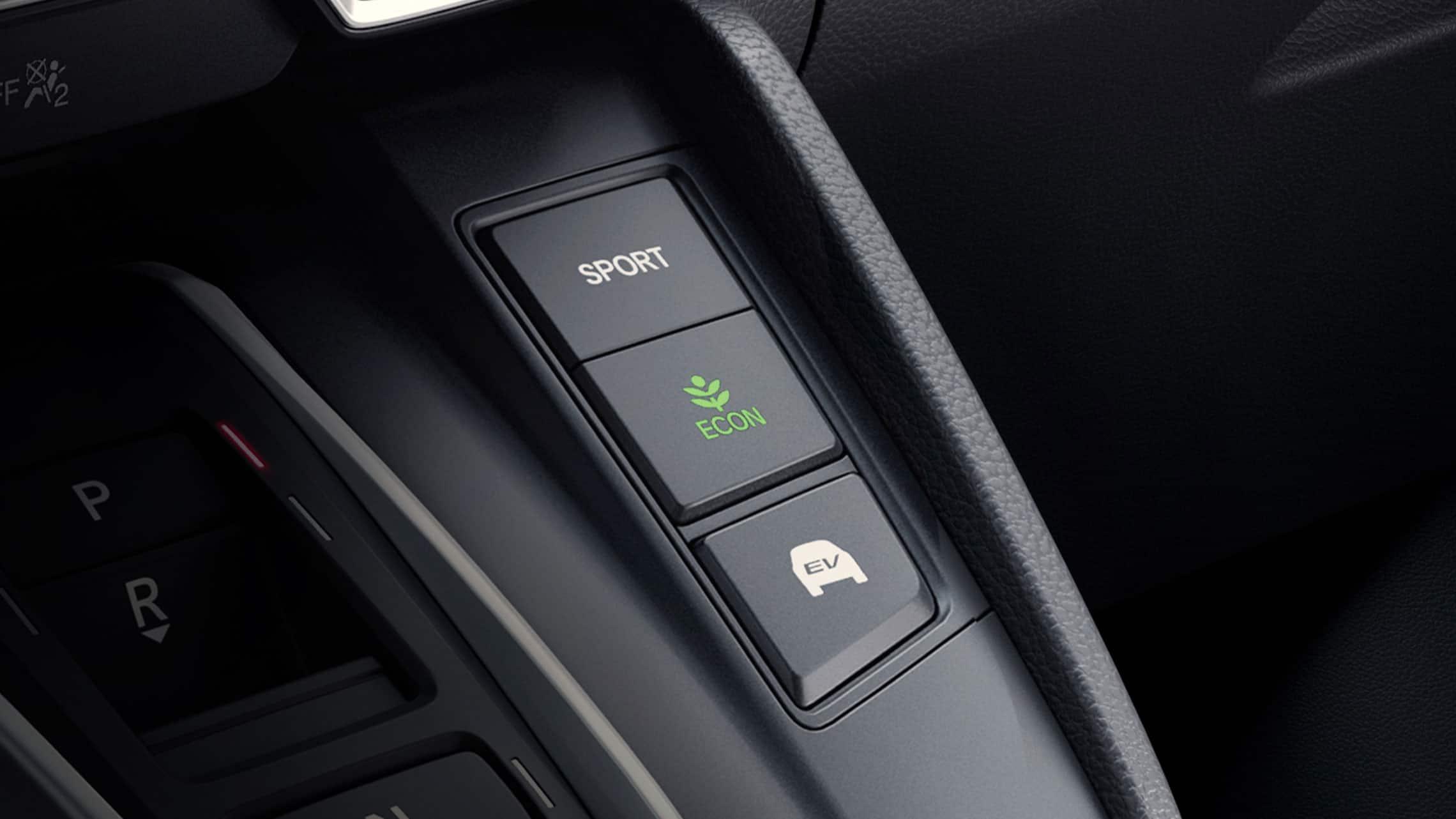 Vista detallada de los botones de modo de conducción de la CR-VHybridTouring2021.