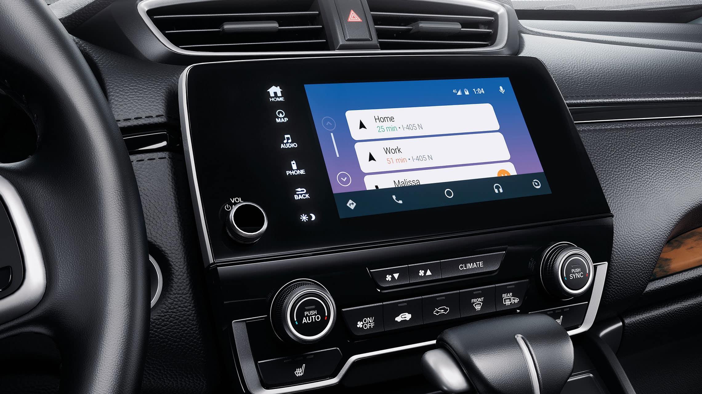 Detalle del menú de integración con Android Auto™ en el sistema de audio en pantalla táctil en la Honda CR-V2021.
