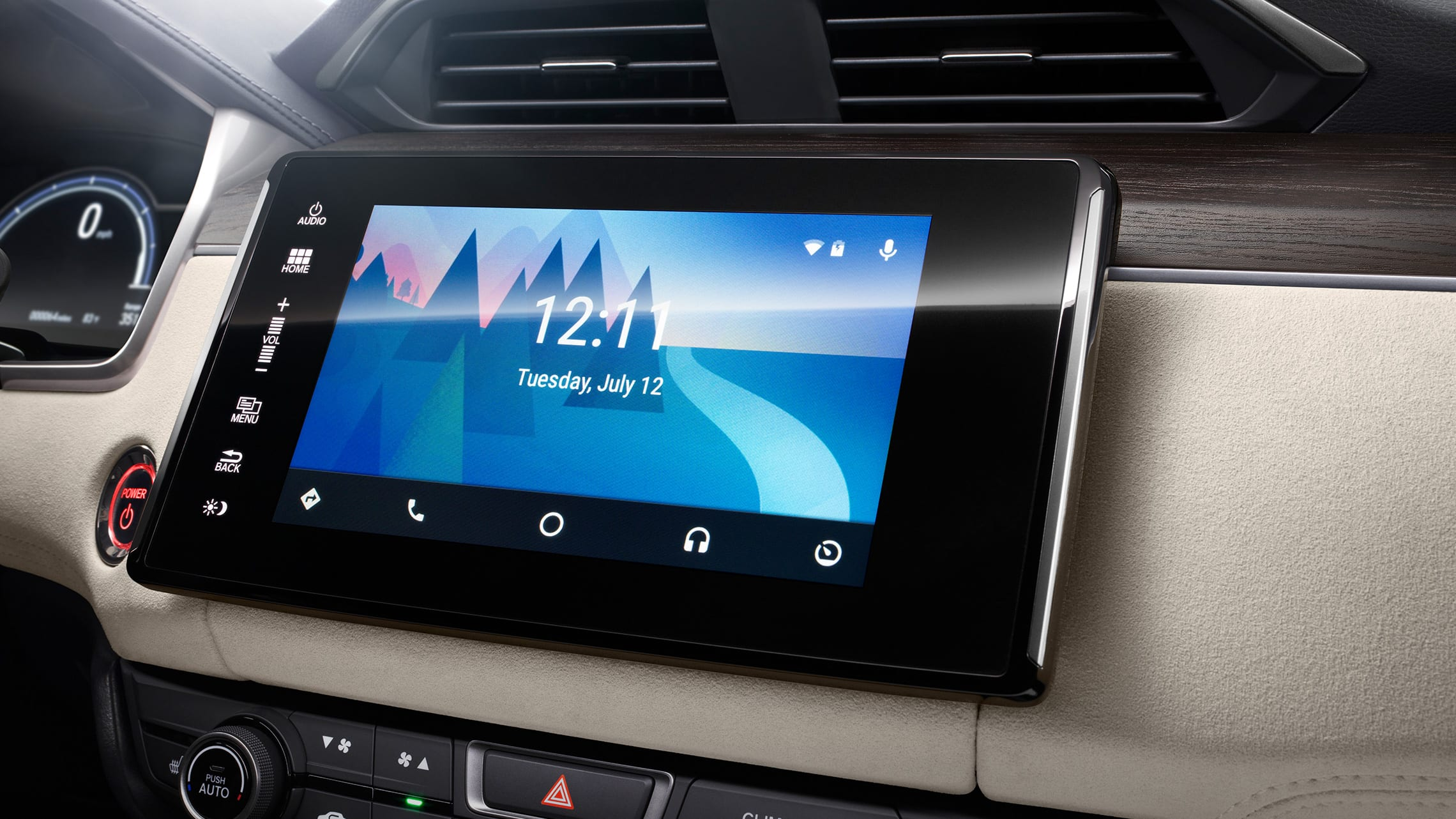 Integración con Android Auto™ en el sistema de audio en pantalla táctil de la Honda Ridgeline 2021.
